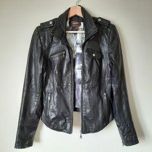 Danier Italian Leather Fitted Moto Jacket Sz XS